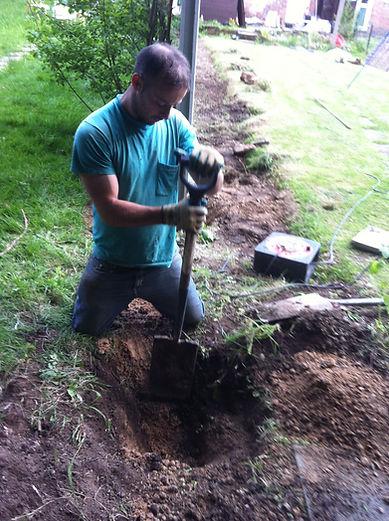 hole dug for fence bay, and used postcrete around last post