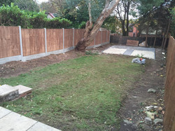 Fencing complete and patio base pic