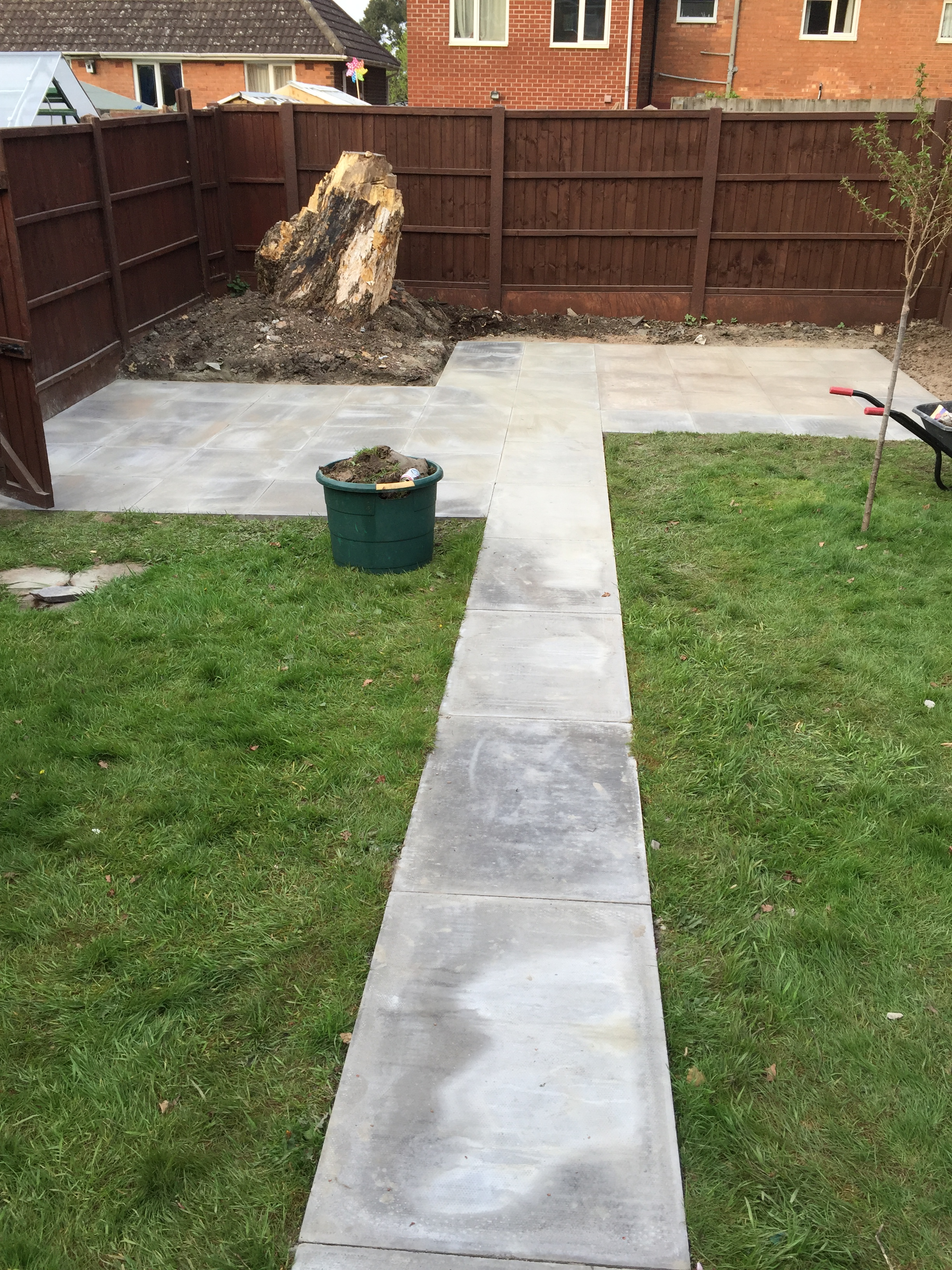 Pathway laid with 3'by2' grey paving