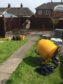 Our jcb cement mixer in action