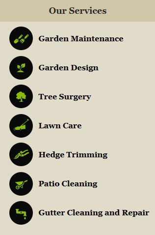 picture of the yard services we provide, like strimming, cutting back hedges, cutting grass, and small tree removal services