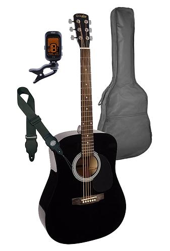 Dreadnought Acoustic Guitar Pack Black Finish