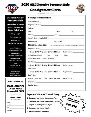 2020 OKC Futurity Sale Consignment Form.