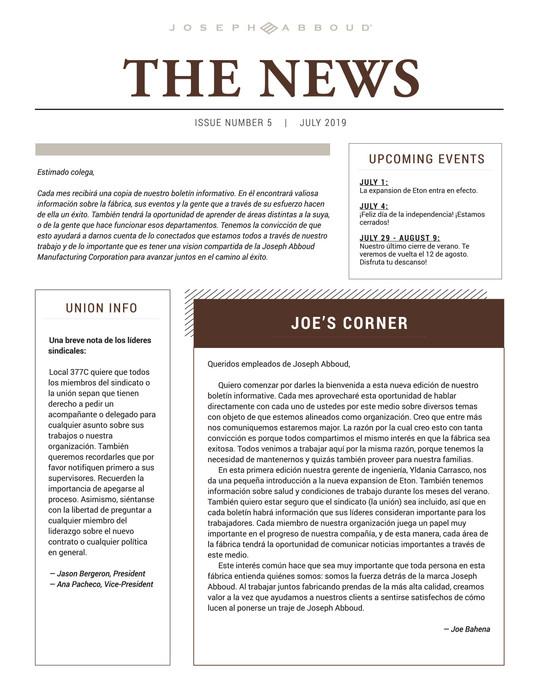 Front Newsletter Spanish
