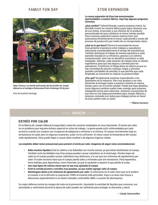 Back Newsletter Spanish