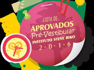 LISTA DE APROVADOS, PRÉ-VESTIBULAR 2016