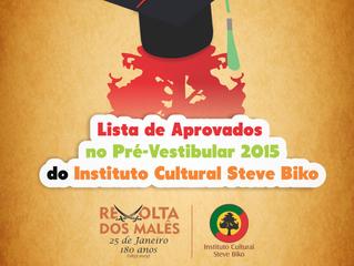Lista de Aprovados no Pré-Vestibular 2015 do Instituto Cultural Steve Biko