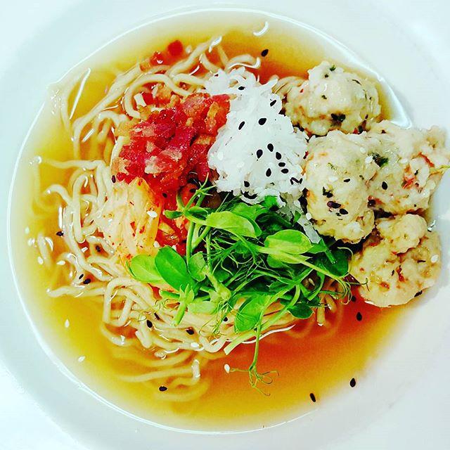 hilo _maebo_ noodles, house sukiyaki style broth, kimchee, _turnip wagon_ pea shoots, grated daikon