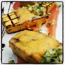 Grilled big island tofu, melted smoked gouda, sweet onion relish and waimea strawberry apple sauce