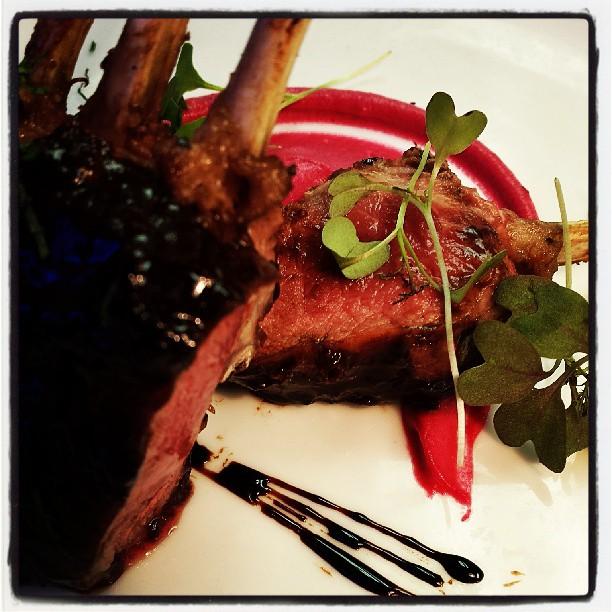Balsamic, coffee & kona chocolate glazed lamb over pickled beet puree #summermenu _threefatpigs