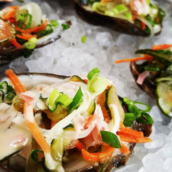 My oyster that I just demo at the _hangoutcookoff namasu (japanese pickle) sweet soy mirin aioli, ha
