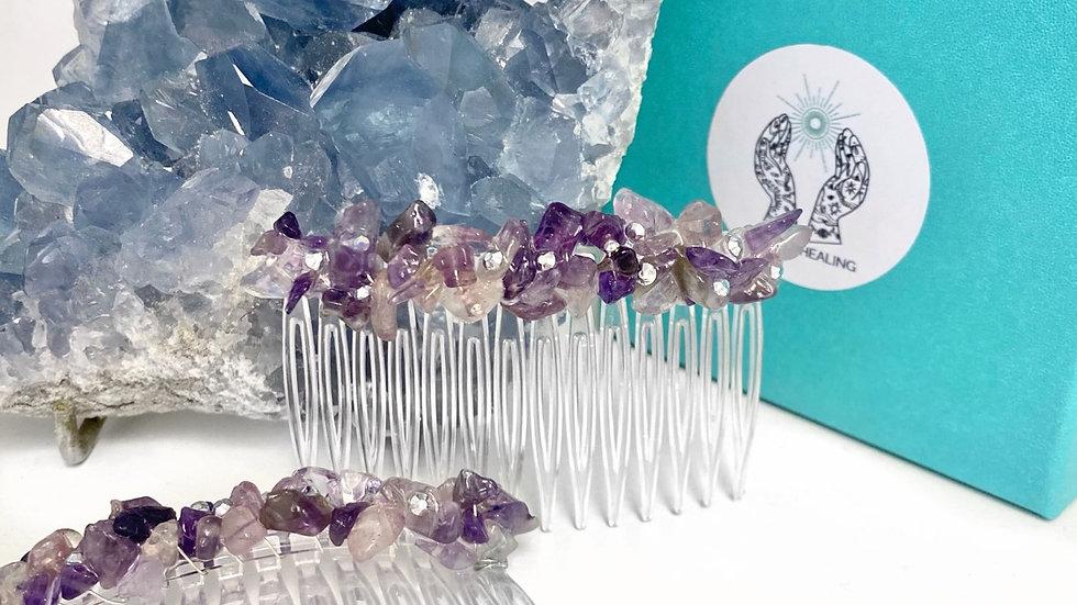 Natural Amethyst Gemstone Hair Slides
