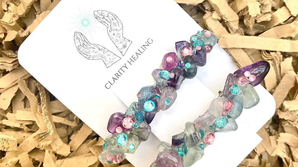 Natural Fluorite Gemstone Small Hair Clips