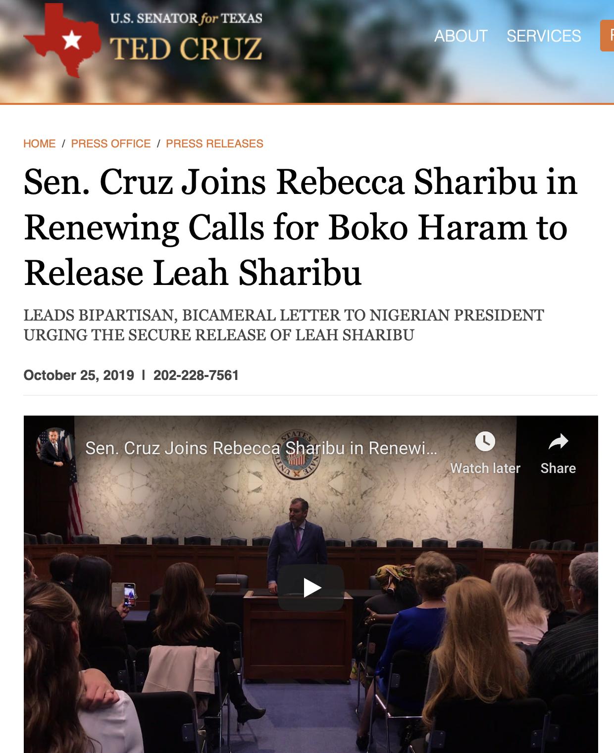 Sen Cruz hosts Leah's mother