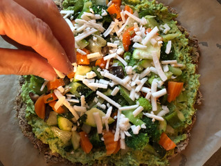 Avocado Sweet Pea Pizza with Cauliflower Crust