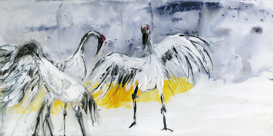 "Japanese Cranes  18""h x 36""w  $600"