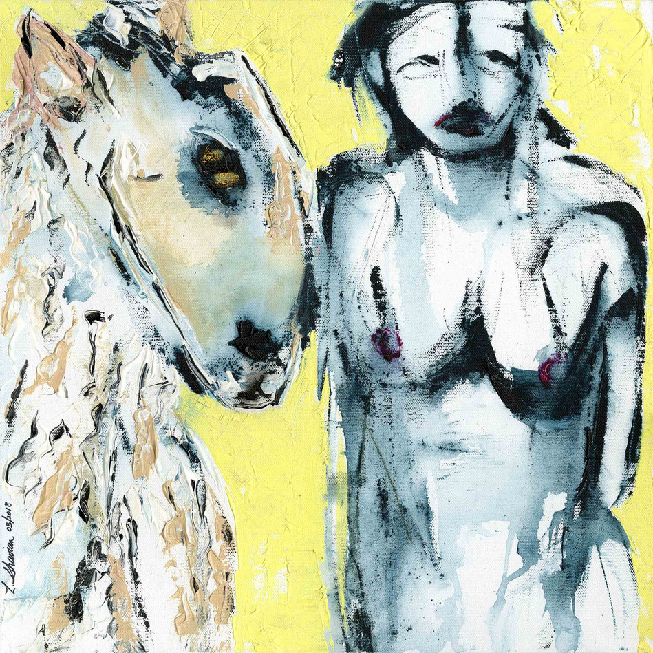 "Nude with Sheep 18"" x 18"" $450"