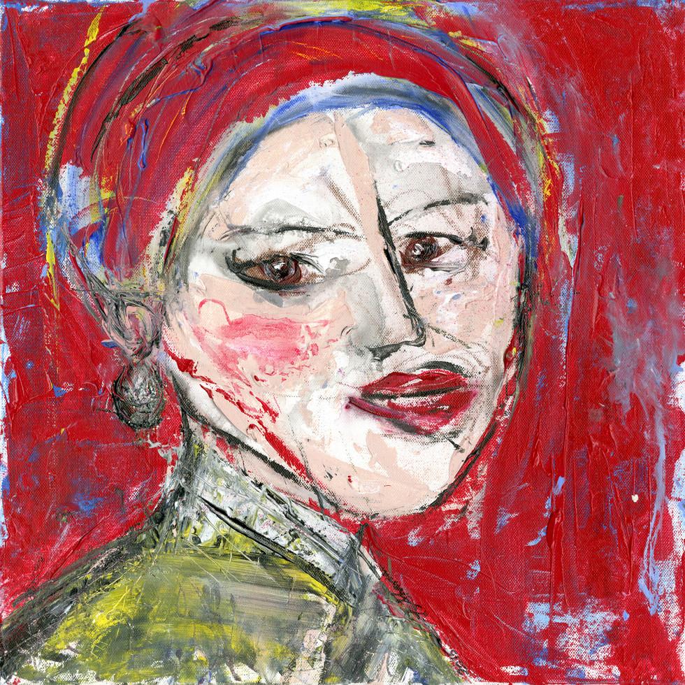 Scarlett Johansson does Vermeer 18 x 18 $450