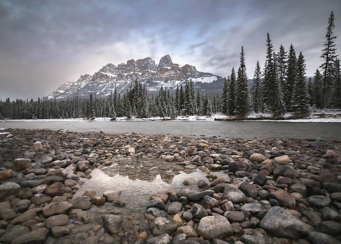 Castle Mountain along Bow River near Banff