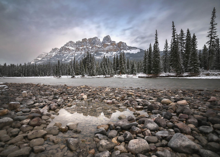 Castle Mountain along Bow River near Banff