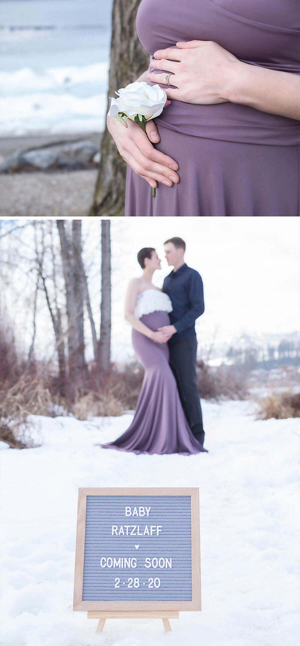 Pregnant mom wearing purple dress with husband for maternity photos in lake country, kelowna
