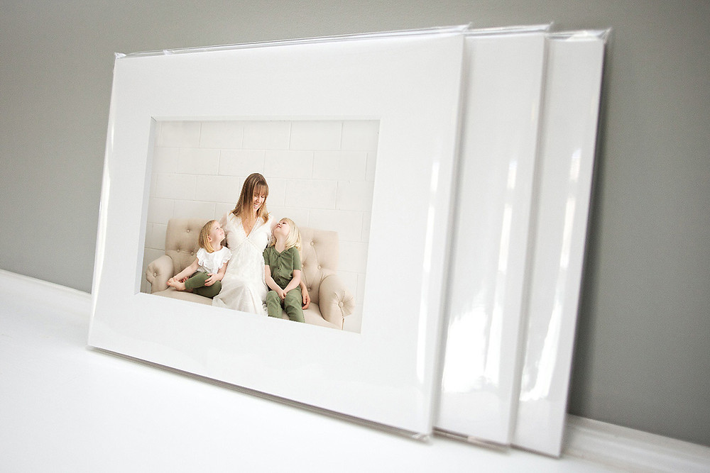 printed and wrapped pictures of mother with daughters by okanagan motherhood photographer Nicole Hemeon Photography