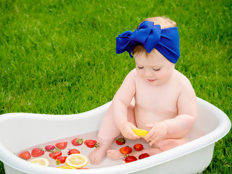 Okanagan Baby Photographer | Kelowna, BC | Baby Z's Fruit Bath Glimpse
