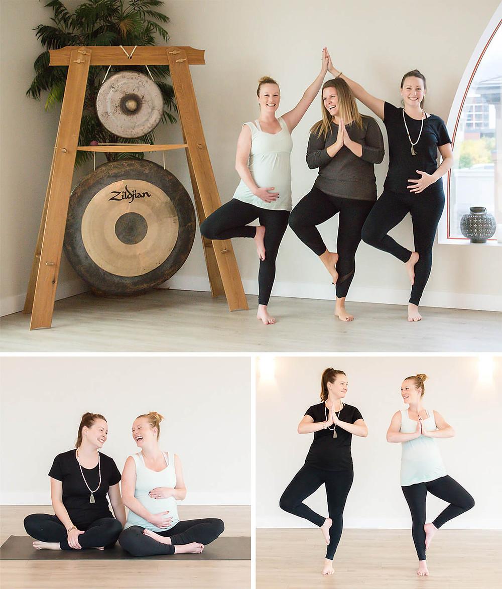 pregnant moms in Mandala Mamas pre-natal yoga class in Kelowna