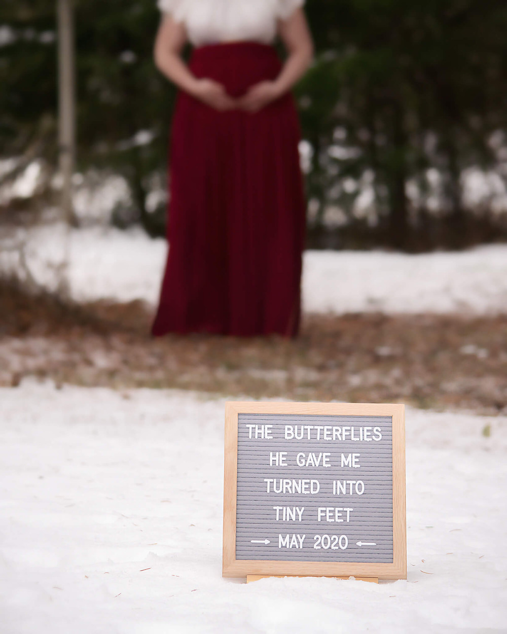 Summerland maternity photographer pregnancy announcement in winter