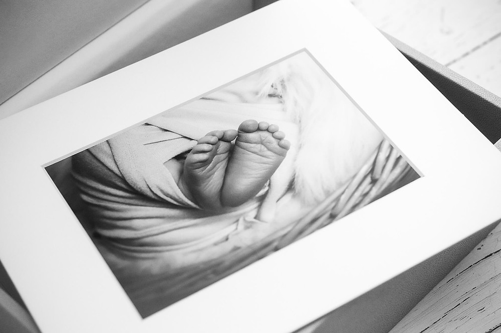 Peachland Newborn Photography - black and white printed picture of newborn baby's toes