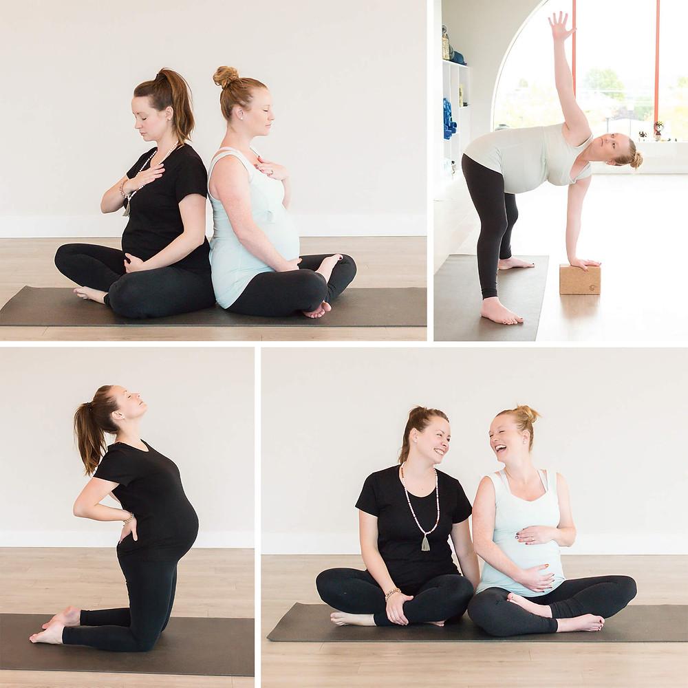 pregnant moms during mandala mamas prenatal yoga class in kelowna