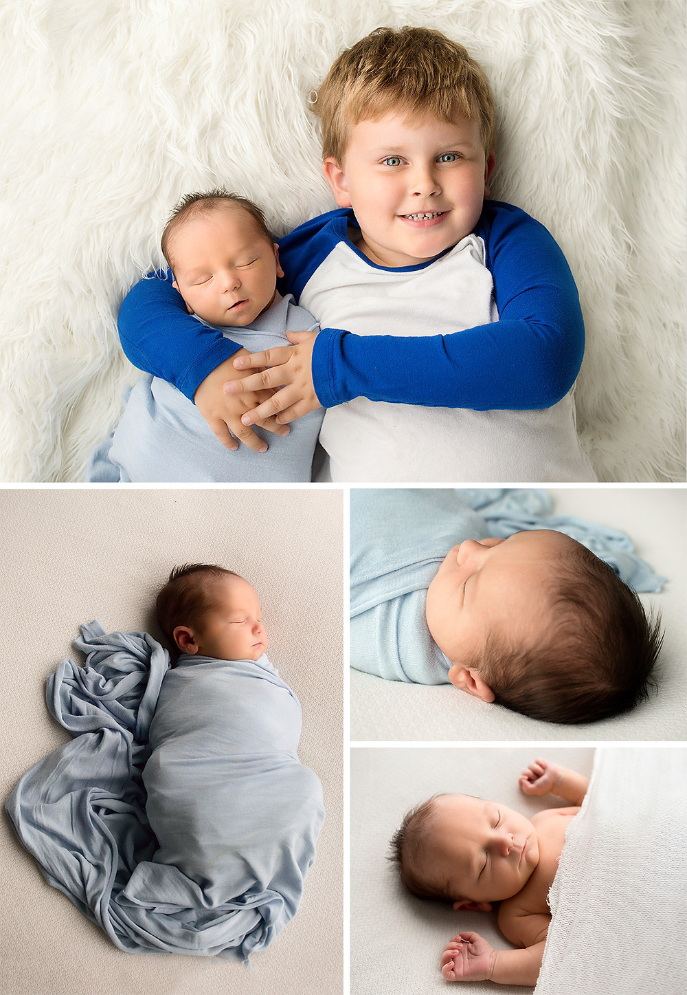 kelowna newborn baby boy in blue wrap with big brother's arms wrapped around him on a fluffy white rug