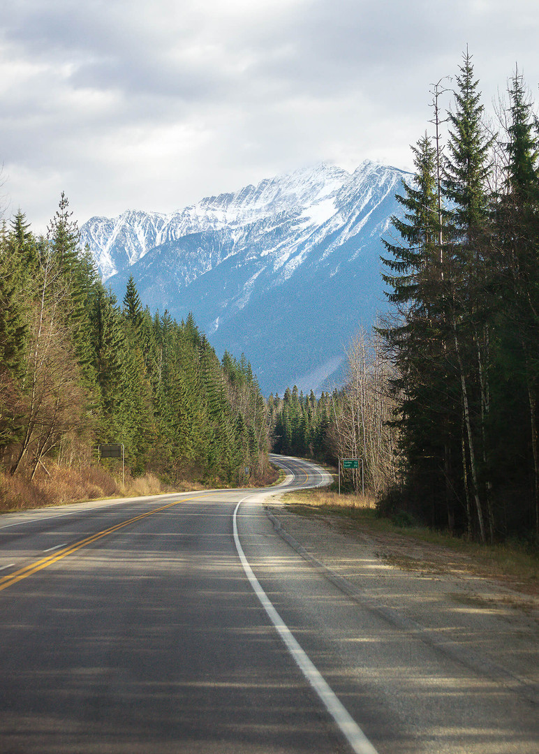 Highway 1 Rocky Mountains near Revelstoke BC