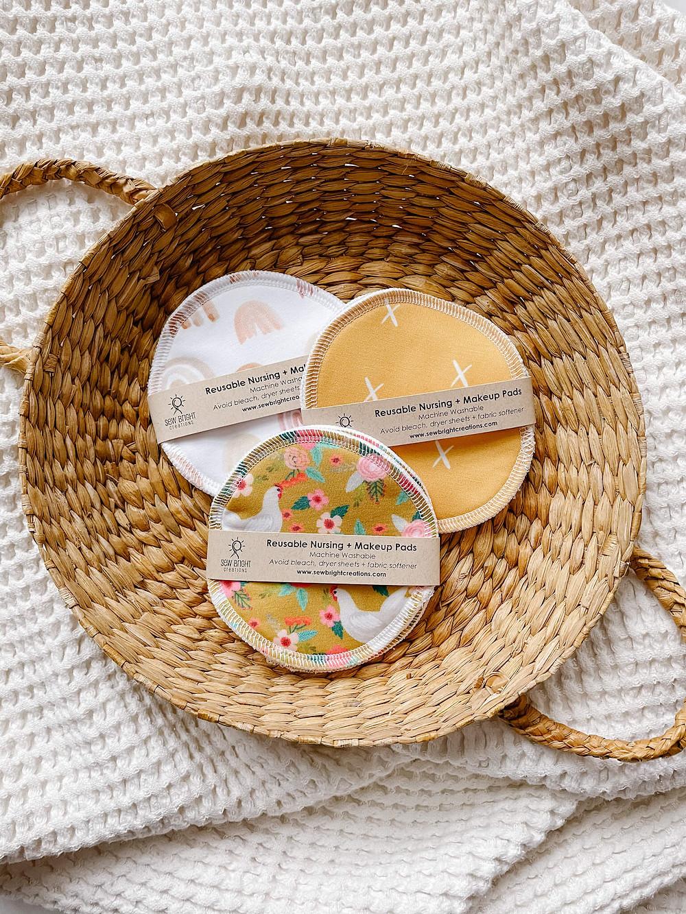 reusable nursing, nipple & makeup pads by sewbrightcreations