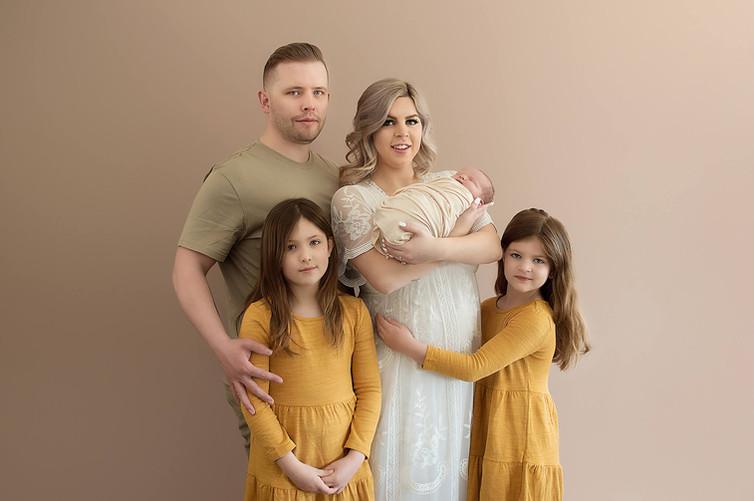 Okanagan family studio photos with newborn baby and siblings