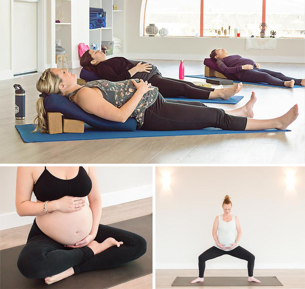 pregnant moms in a prenatal yoga class with Mandala Mamas in Kelowna