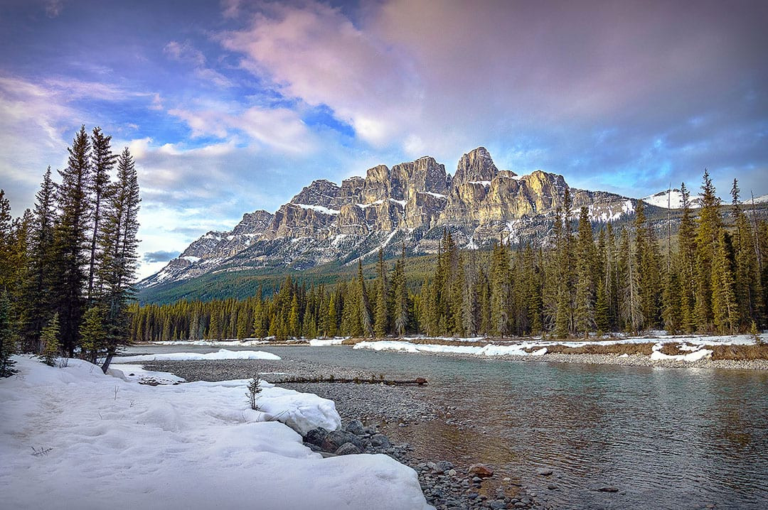 Castle Moutain and Bow River, Banff