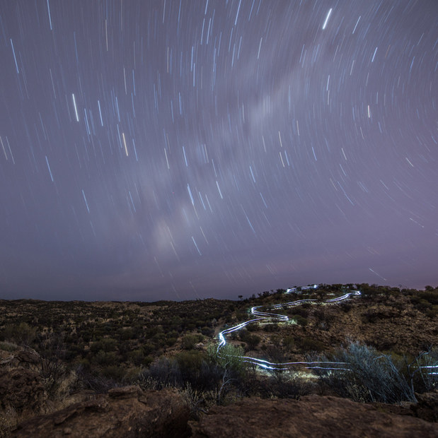 Star trail mountain bikers Alice Springs | Rupert Fowler photography