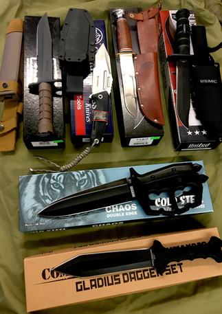 HUGE selection of long blade knifes! (Only a few brands shown)