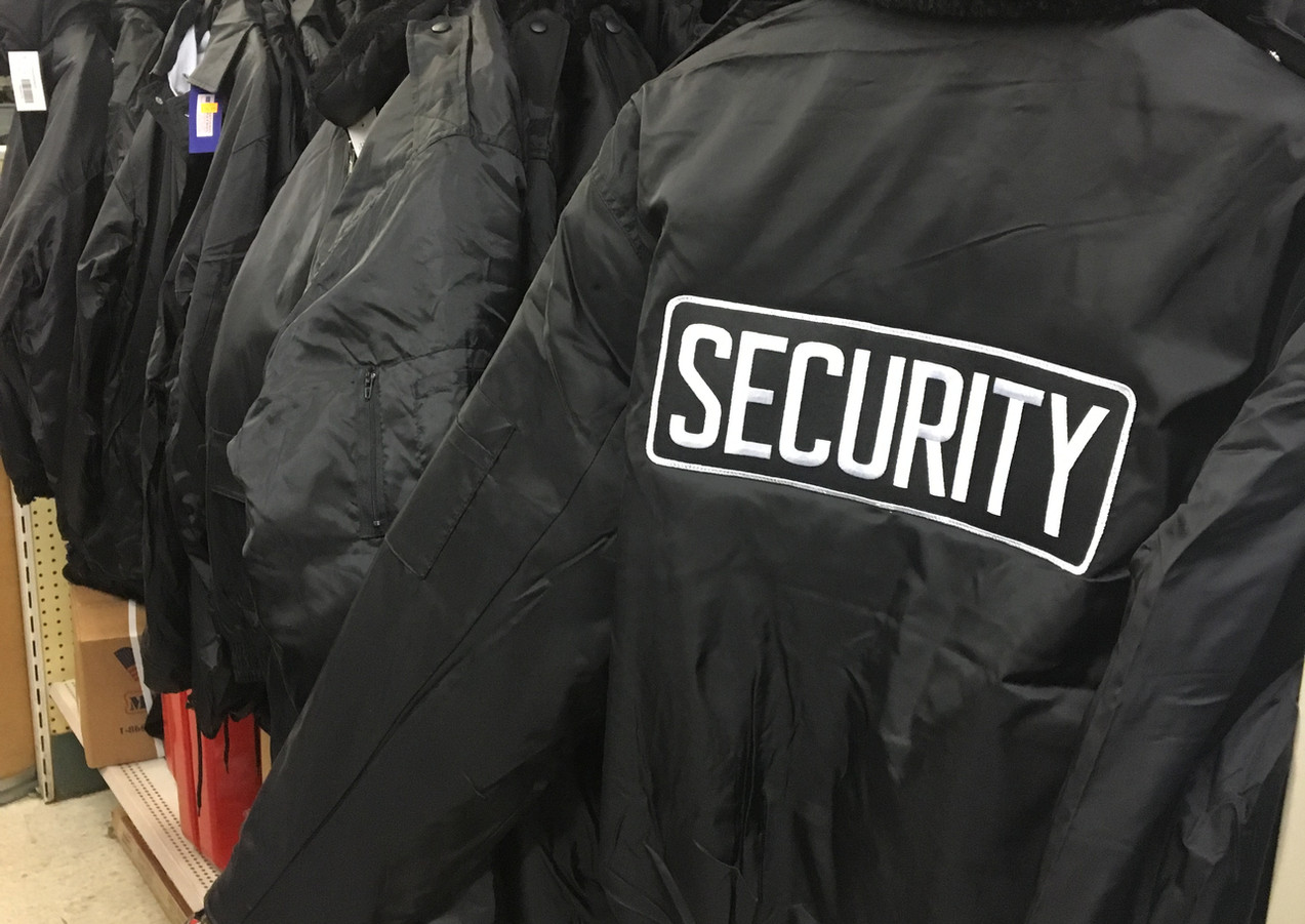 Security attire-T-shirts, jackets, long sleeve shirts, etc.