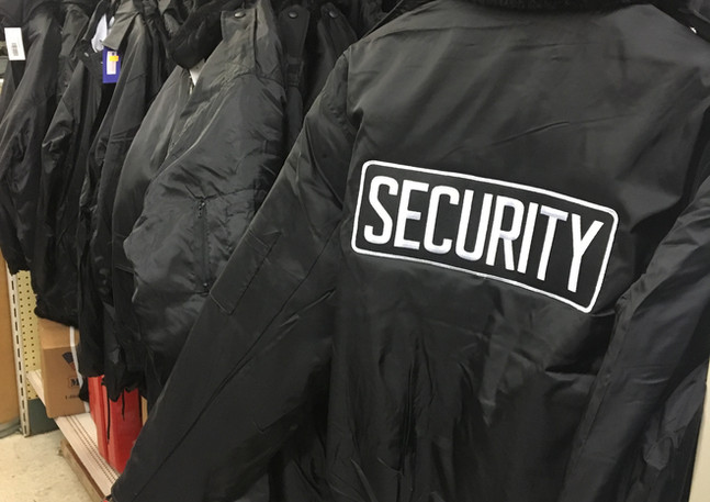 Security attire-T-shirts, jackets, long sleeve shirts, etc.