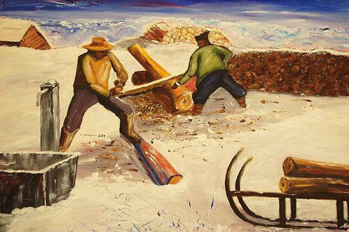 Holzsäger auf der Alp_90