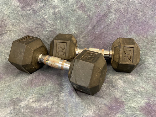 20 lb Rubber Hex Dumbell weights