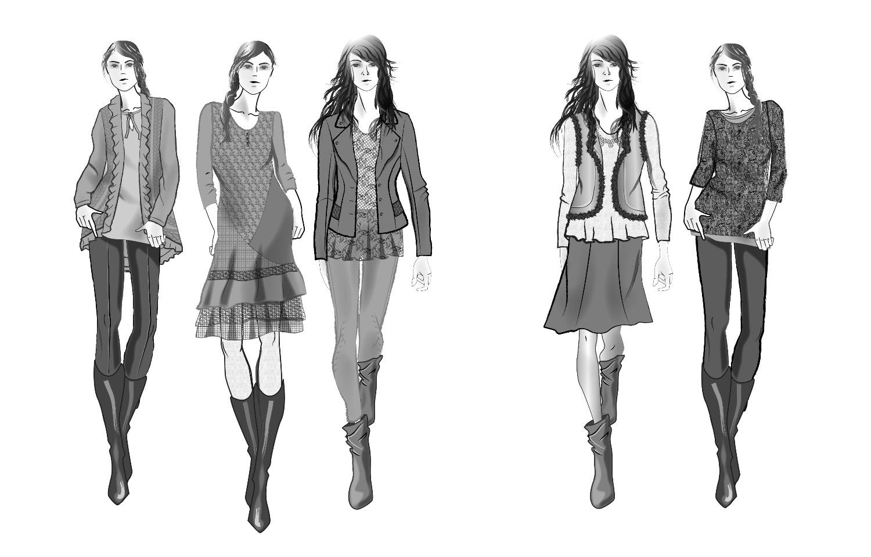 Modeskizzen, Figurinen, Fashion