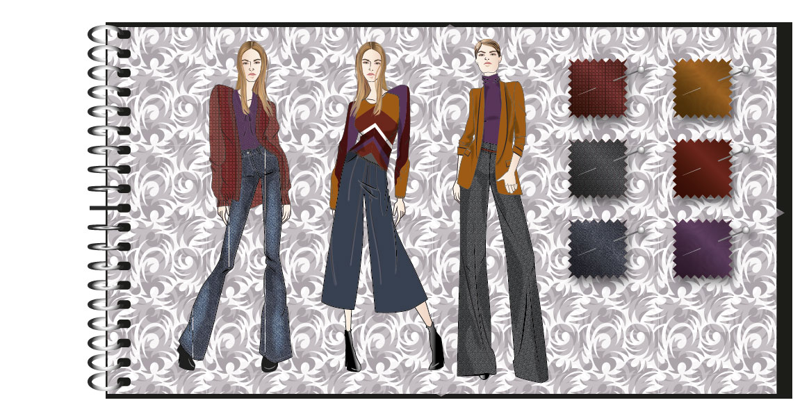 Moodboard Fashionskizzen Illustrator