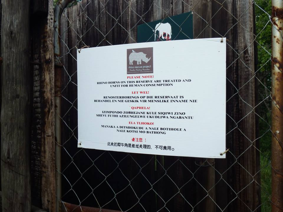 Treated Rhino Horns Warning