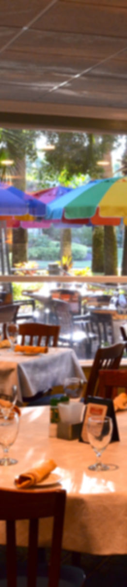 Photo of dining room looking out through windows to our landscaped tarrace with colorful umbrellas