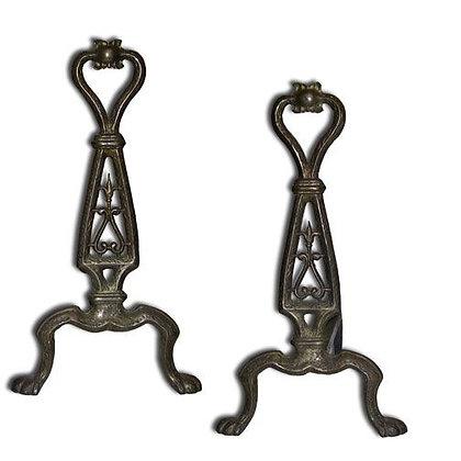 1910 Cast Brass Andirons