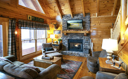 Stone fireplace with natural gas logs