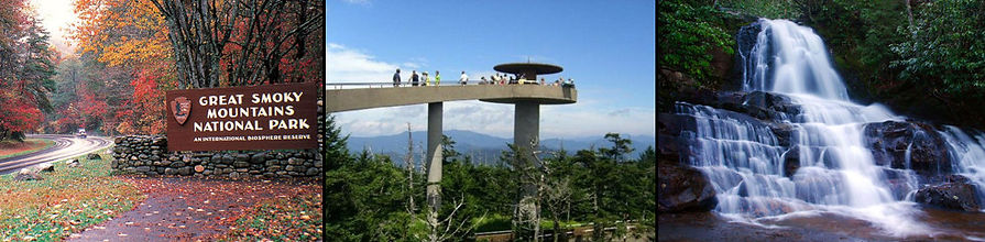 Great Smoky Mountains National Park sign, Clingman's Dome Tower, Laurel Falls